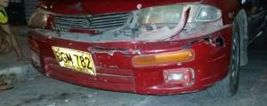 Así quedó el automóvil, luego del choque en el que se vio inmiscuido el propietario de Parqueaderos y Grúas Ariño.