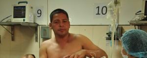 El conductor Jairo Verdugo Verdugo fue atendido en el Hospital Rosario Pumarejo de López.