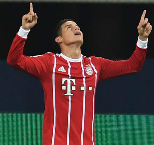 James debutó como titular en la Bundesliga con gol