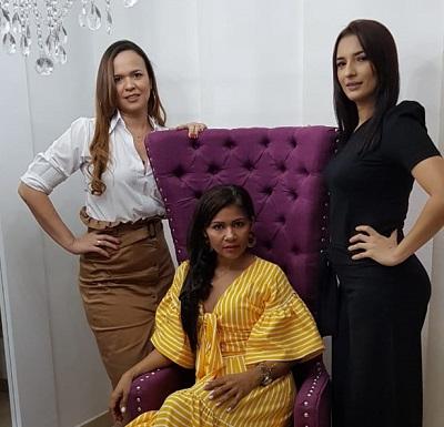 Las diseñadoras vallenatas Mary Cruz Borrego, Paola Quiroz y Carolina Gómez crearon la tienda de moda Team Fashion en Valledupar.   FOTO: CORTESÍA.