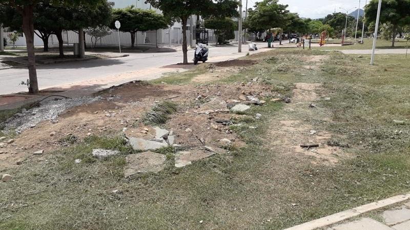 Así quedó la pista de bicicross que estaba ubicada detrás de Club House.  FOTO/ CORTESÍA.