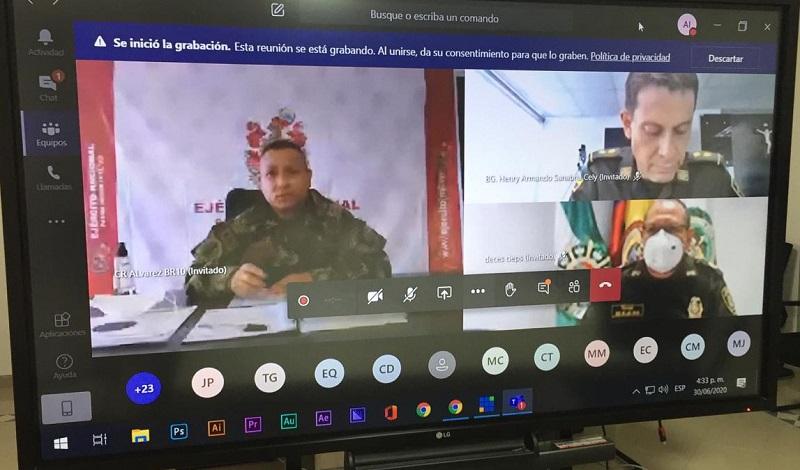 El encuentro sobre seguridad se realizó de manera virtual.  FOTO/CORTESÍA.