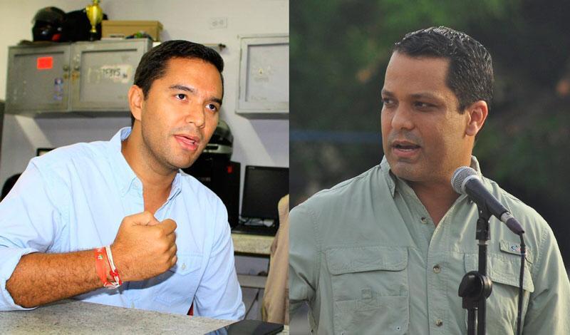 Mello Castro, alcalde de Valledupar  y Luis Alberto Monsalvo, gobernador del Cesar.   FOTO/ARCHIVO.