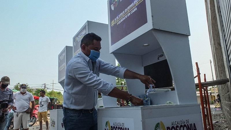 El alcalde de Bosconia incitó a su población al cuidado respectivo y al lavado de manos, fundamental para prevenir el contagio del virus.   FOTO/CORTESÍA.