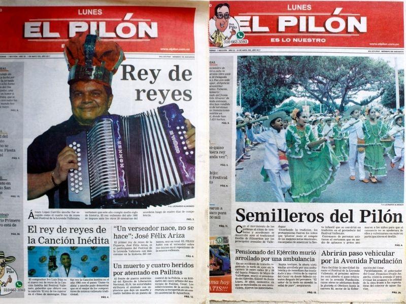 Algunas de las portadas de EL PILÓN durante el cubrimiento del Festival de la Leyeda Vallenata en los últimos años.  FOTO/ARCHIVO.