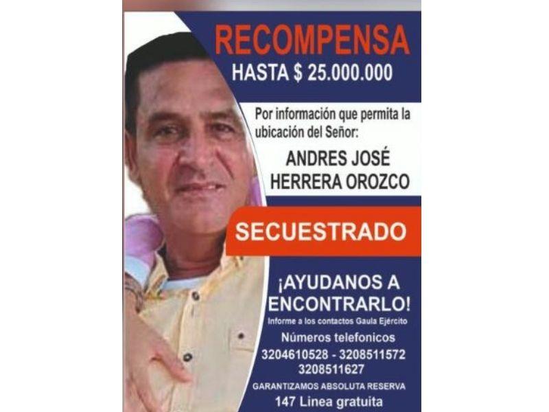 La recompensa por información del secuestro de Andrés José Herrera sigue vigente.  FOTO/CORTESÍA.