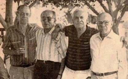José Francisco Daza en compañía de Alfonso Murgas,  Alfonso Cotes Queruz y Chema Daza.  FOTO/CORTESÍA.